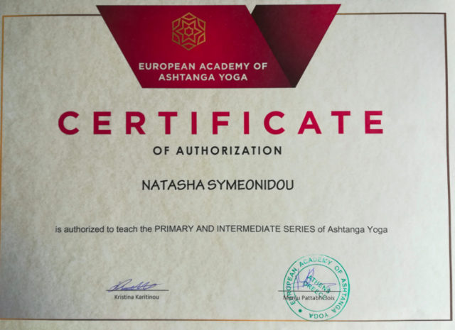 about yoga certificate